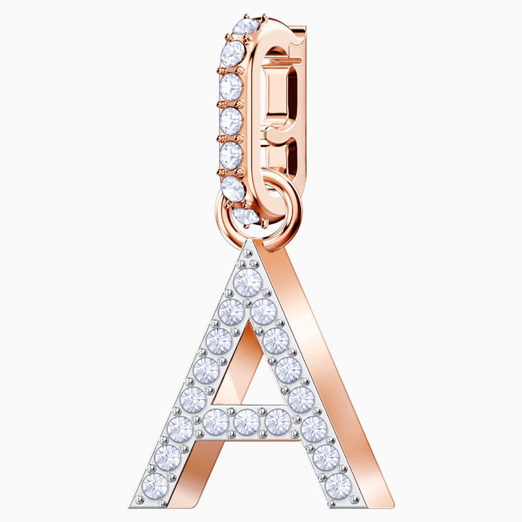 Swarovski Remix Collection Charm A, White, Rose-gold tone plated