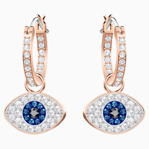 Swarovski Symbolic Evil Eye Hoop Pierced Earrings, Multi-coloured, Rose-gold tone plated