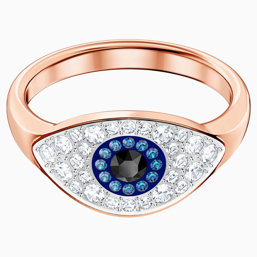 Swarovski Symbolic Evil Eye Ring, Multi-coloured, Rose-gold tone plated