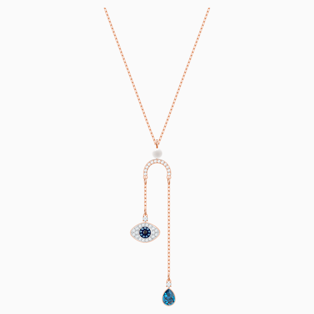 Swarovski Symbolic Evil Eye Y Necklace, Multi-coloured, Rose-gold tone plated