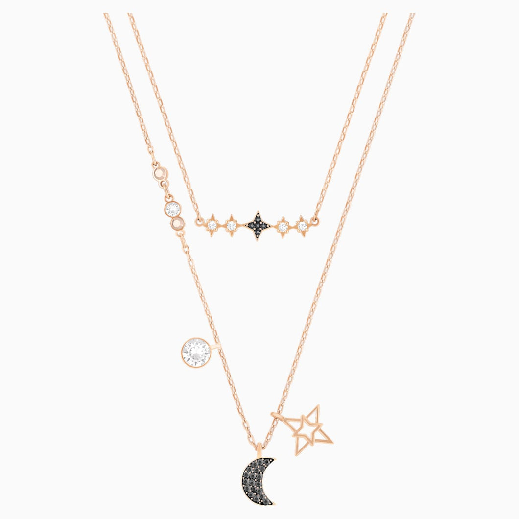 Swarovski Symbolic Moon Necklace Set, Multi-coloured, Mixed metal finish
