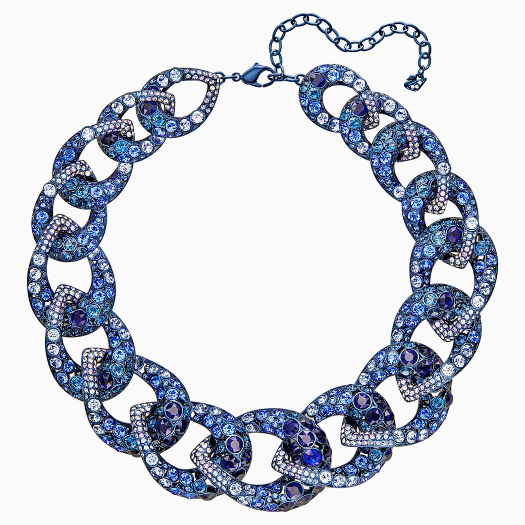 Tabloid Necklace, Multi-coloured, Blue PVD Coating