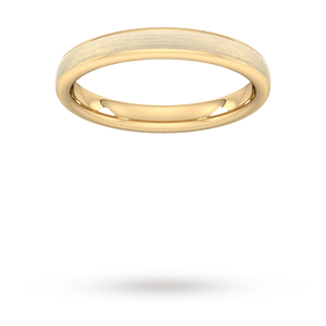 3mm Flat Court Heavy Matt Finished Wedding Ring in 9 Carat Yellow Gold