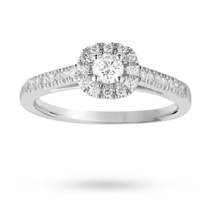 Brilliant cut 0.40 total carat weight diamond halo ring w ...