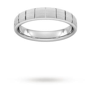 4mm Slight Court Extra Heavy vertical lines Wedding Ring ...