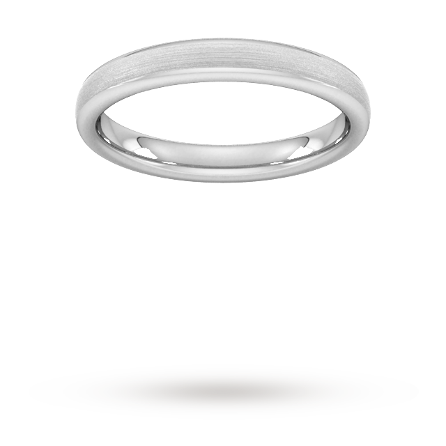 3mm Flat Court Heavy Matt Finished Wedding Ring in 18 Carat White Gold