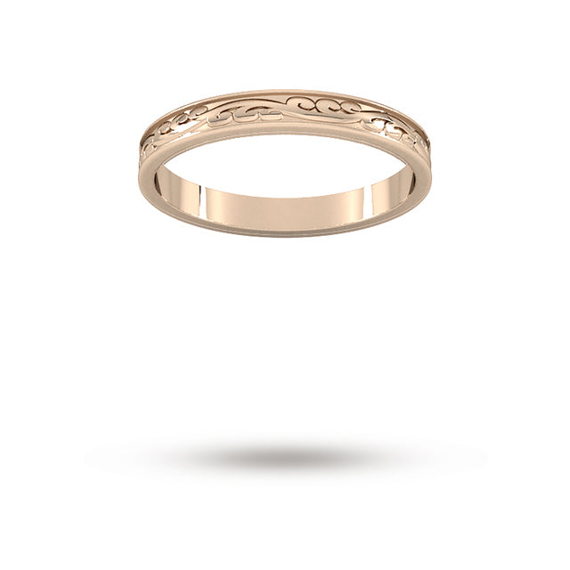2.5mm Hand Engraved Wedding Ring in 18 Carat