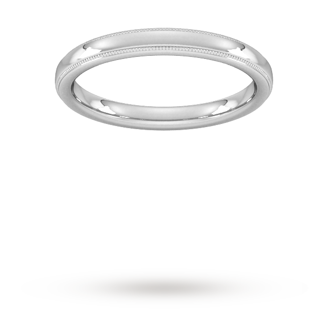 2.5mm Slight Court Extra Heavy milgrain edge Wedding Ring ...