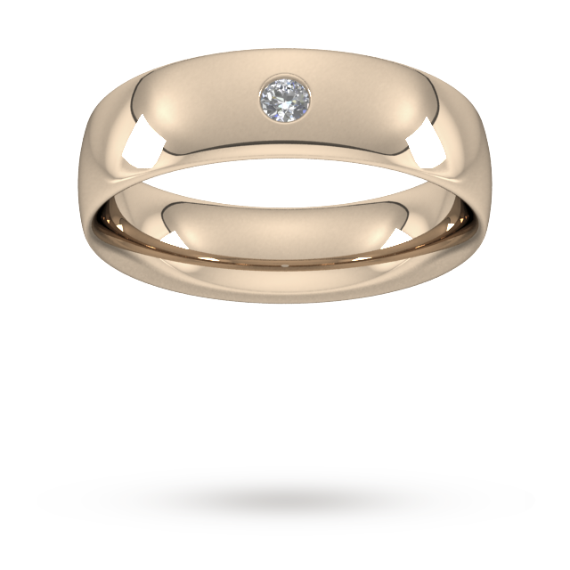6mm Brilliant Cut Diamond Set Wedding Ring in 9 Carat Rose Gold - Ring Size P