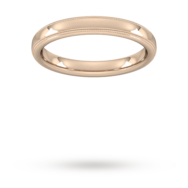 3mm Flat Court Heavy milgrain edge Wedding Ring in 18 Carat Rose Gold