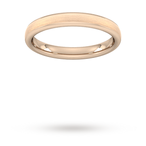 3mm Flat Court Heavy Matt Finished Wedding Ring in 18 Carat Rose Gold
