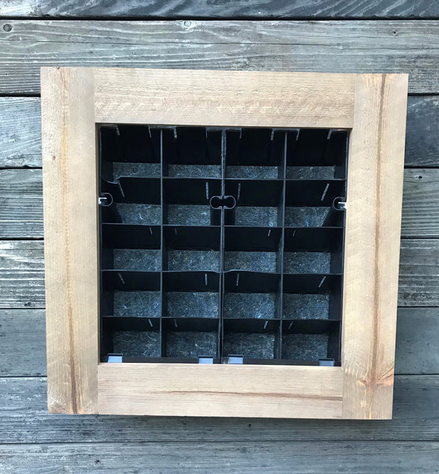 "Oak Wood Framed 24"" x 25"" 20 cell vertical garden planter"