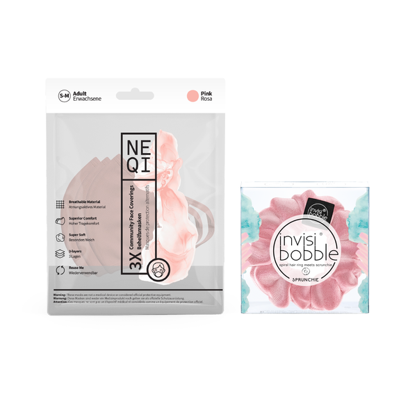 invisibobble® x NEQI Face Mask PINK Duo Bundle