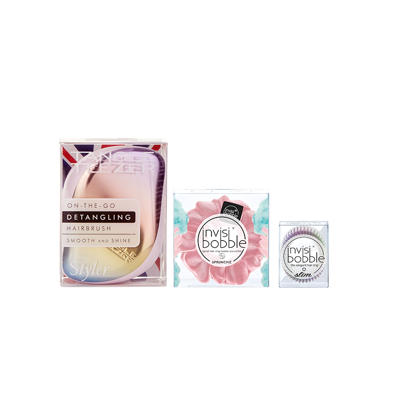 Tangle Teezer x invisibobble® – Compact Fancy Pink Set