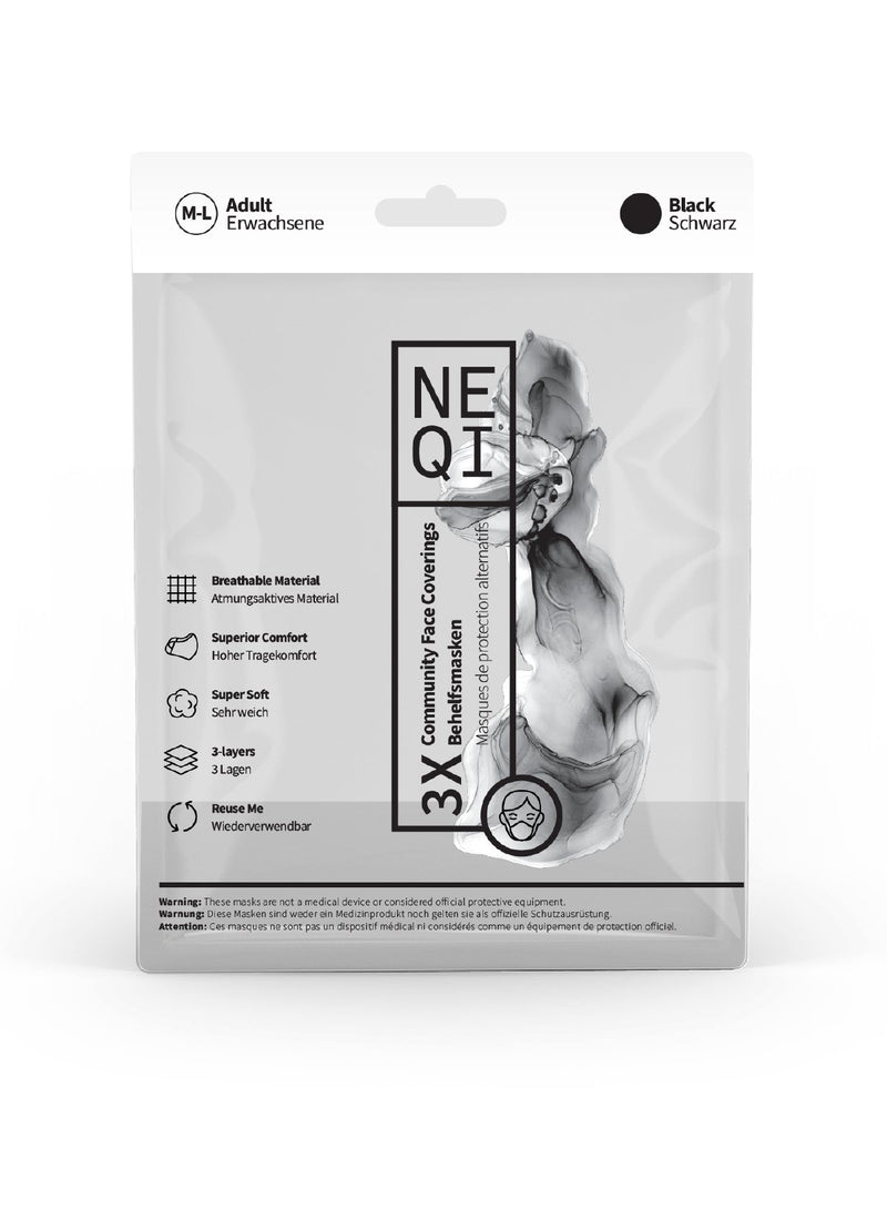 NEQI Face Masks Black S-M