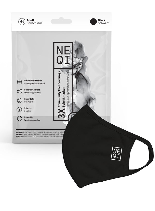NEQI Face Masks Black M-L