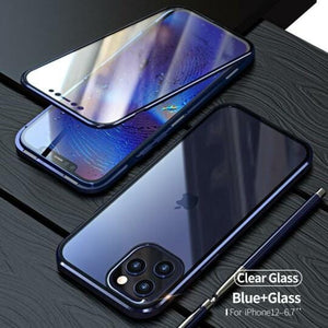 2021 New Two Side Tempered Glass Magnetic Adsorption Phone Case