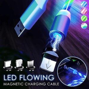 Magnetic charging cable with flowing LED light
