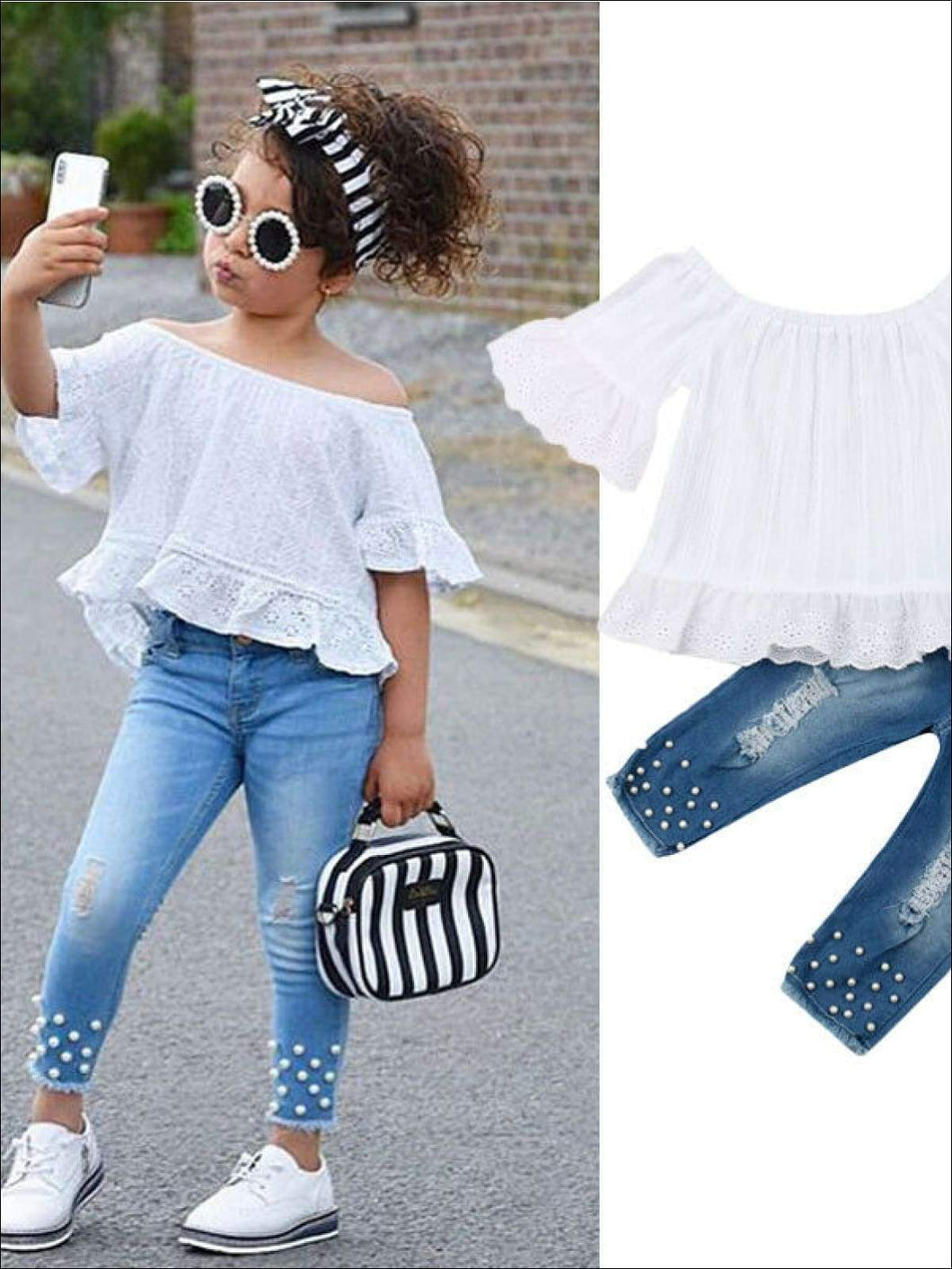 Girls Pearl Studded Denim and Boho Lace Top Set