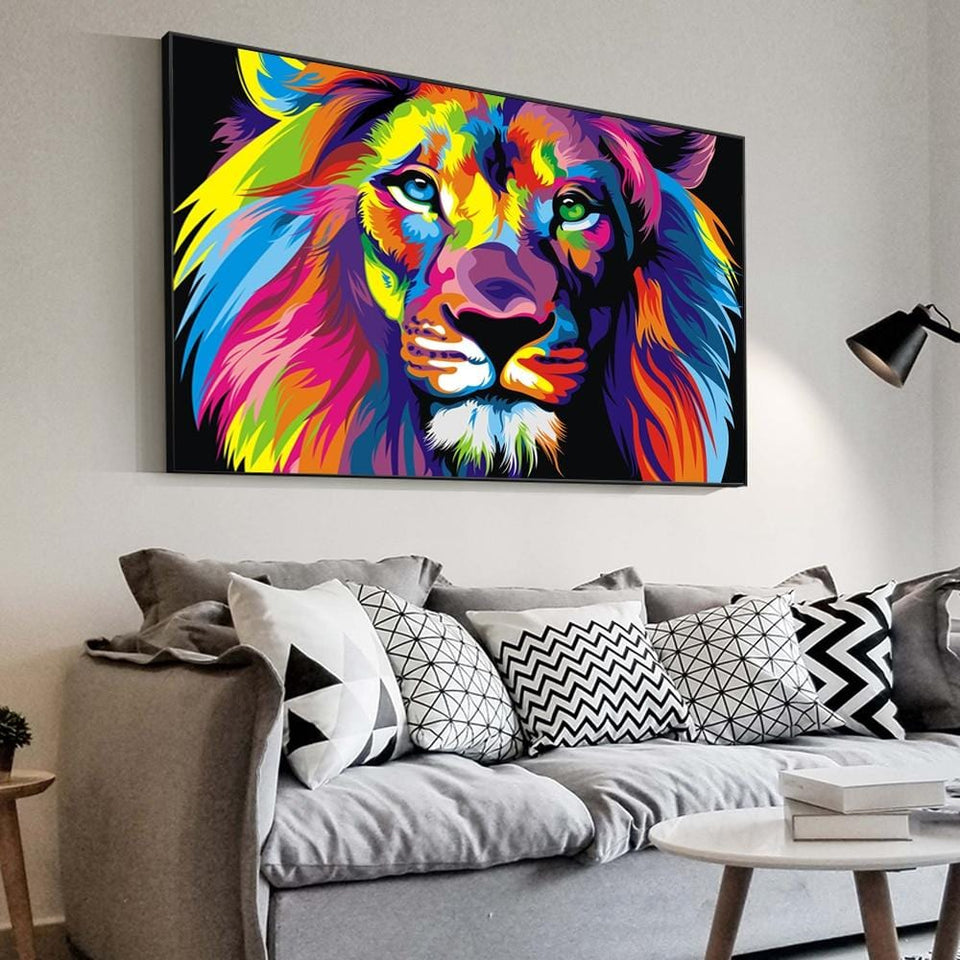 Watercolor Lion Canvas Wall Art