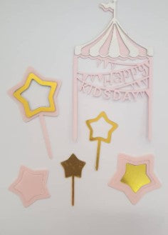 CAKE TOPPER H.BIRTDAY TENT 3s