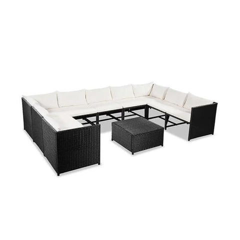 10 Piece Outdoor Lounge Set - Black Poly Rattan