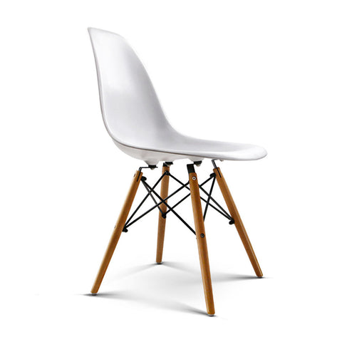 Artiss Set of 2 Retro Beech Wood Dining Chair - White