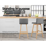 Artiss 2 x Kitchen Bar Stools Wooden Grey Fabric