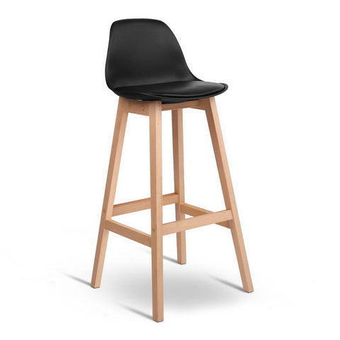 Artiss Set of 2 Beech Wood Bar Stools - Black