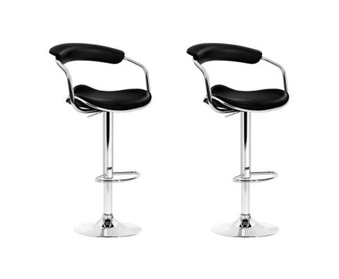 Artiss 2x Leather Bar Stools ADE Kitchen Chairs Swivel Bar Stool Black Gas Lift