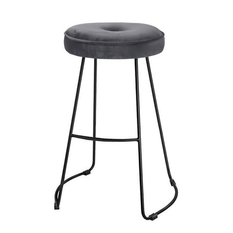 Artiss 2x Bar Stools Kitchen Stool Chairs Modern Metal Velvet Fabric Grey