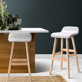Artiss Set of 2 PU Leather and Wood Silva Bar Stool - White