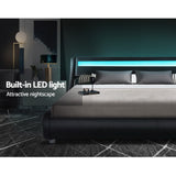 Artiss LED Bed Frame Double Mattress Platform Black Leather - ALEX