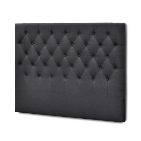 Artiss Double Size Upholstered Fabric Headboard - Charcoal
