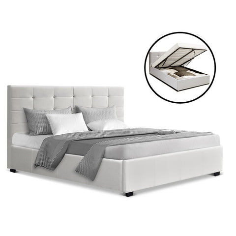 Artiss LISA Double Full Size Gas Lift Bed Frame Base With Storage Mattress White Leather