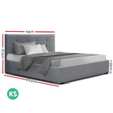 Artiss LISA King Single Size Gas Lift Bed Frame With Storage Grey
