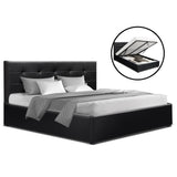 Artiss LISA Queen Size Gas Lift Bed Frame Base With Storage Mattress Black Leather
