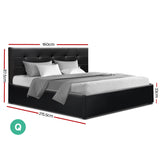 Artiss LISA Queen Size Gas Lift Bed Frame With Storage Black