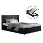 Artiss NINO King Single Size Gas Lift Bed Frame Base With Storage Mattress Black Leather
