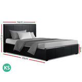 Artiss NINO King Single Size Gas Lift Bed Frame With Storage Black