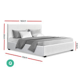 Artiss Queen Size PU Leather and Wood Bed Frame -White