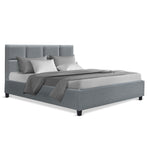 Artiss Double Full Size Bed Frame Base Mattress Fabric Wooden Grey TINO