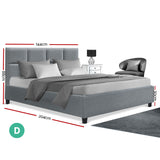 Artiss Double Bed Frame Base - Wooden Grey TINO