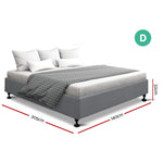 Artiss Double Full Size Bed Base Grey TOMI