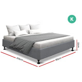 Artiss King Size Bed Frame Grey - TOMI