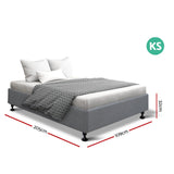 Artiss King Single Size Bed Frame Grey - TOMI