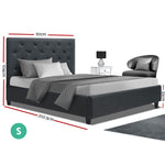 Artiss Single Size Bed Frame - Wooden Charcoal VAN