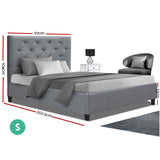 Artiss Single Size Bed Fram - Wooden Grey VAN