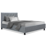 Artiss VANKE Single Size Bed Frame Base Fabric Headboard Wooden Mattress