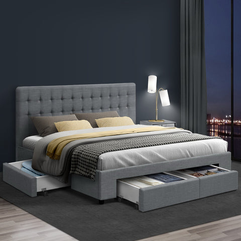 KING Bed Frame with 4 Storage Drawers AVIO